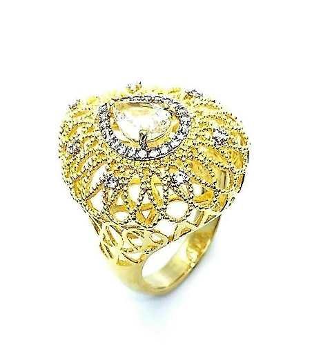 Anel E Brincos Rendados Cristal De Rocha Banho De Ouro 18k 3785 3786