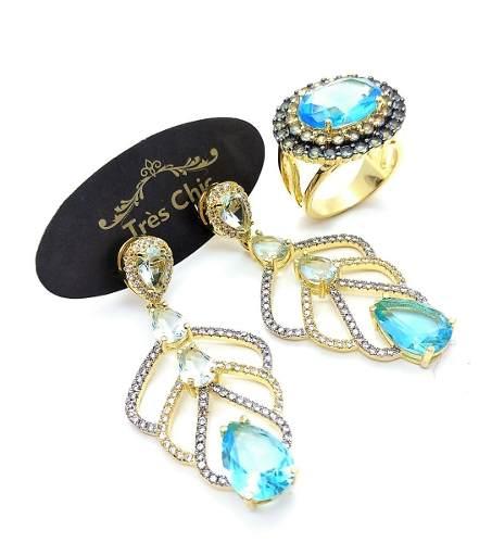 Anel e Brincos Cristais Turmalina Azul Neon Banho Ouro 18k 3483 3494
