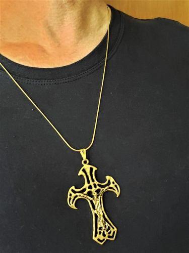 Cordão Masculino Com Cruz Envelhecida Banho Ouro 18k 3600 4643