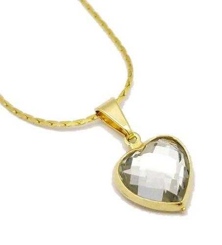 Cordão Com Pingente Coração  De Cristal Facetado Banho Ouro 18k 3142 4164