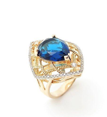 Conjunto Anel e Brincos Cristais Azul Topázio E Zirconias Banho Ouro 18k 3250 3251