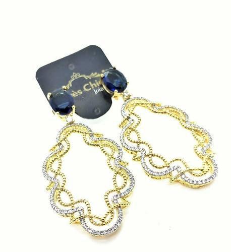 Conjunto De Anel E Brincos Cristal Azul Topázio E Cravejado Banho De Ouro 18k 3235 3236