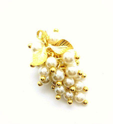 Cordão Com Pingente Cacho Mini-pérolas Banho Ouro 3021 4164