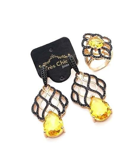 Anel E Brincos Cristal Amarelo Citrino Cravejado Banho De Ouro 18k 3220 E 3221