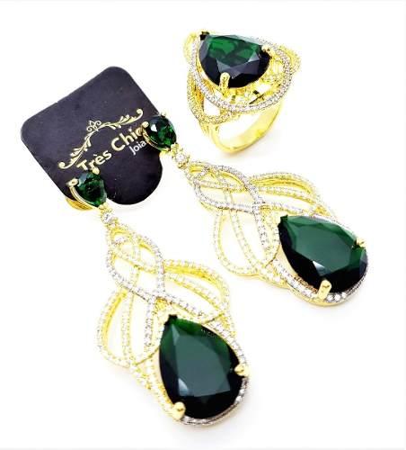 Anel E Brincos Verde Esmeralda Banho De Ouro 18k 3686 3687