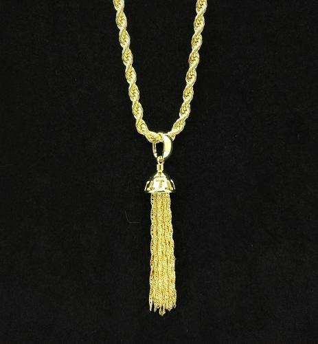 Cordão Com Pingente Tassel Singapura Banho Ouro 18k 3604