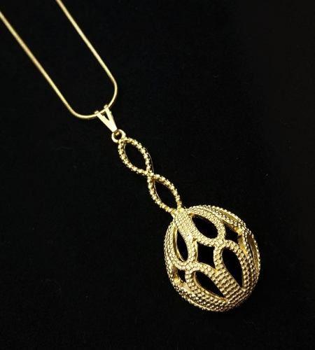 Cordão Com Pingente Pêndulo Desenhado Banho De Ouro 18k 3608