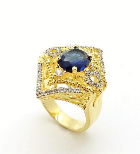 Conjunto London Blue Cravejado Zirconia Banho Ouro 3503 3504