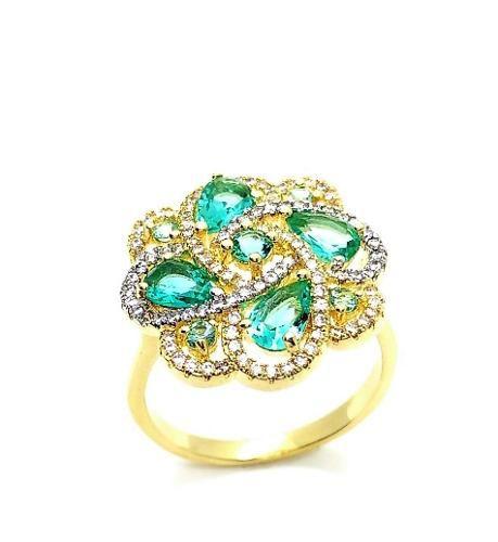 Conjunto De Cordão E Anel Cristal Turmalina Cravejado Banho De Ouro 3230 3231