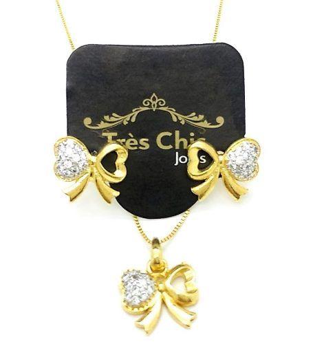Conjunto De Brincos Cordão Pingente laço Cravejado Zirconias Cristal Banho De Ouro 18k 4075 4076