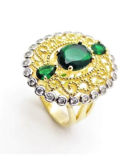 Conjunto Anel e Brincos Verde Esmeralda Rendado Zirconias Banho Ouro 18k 3499 3500