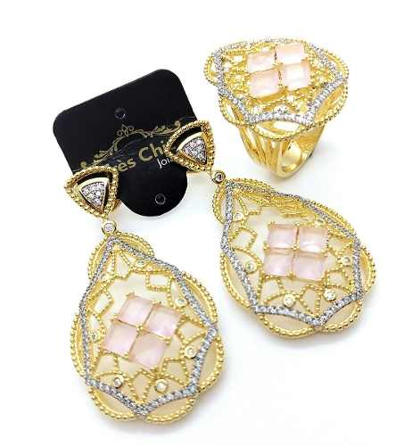 Conjunto De Anel E Brinco Cristal De Quartzo Rosa Cravejado Banho De Ouro 3479 3480