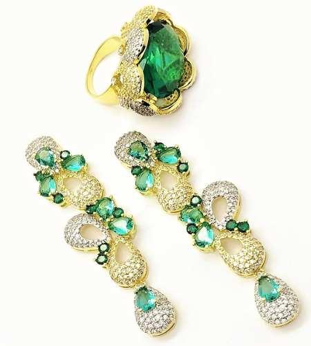 Anel e Brincos Cristal Verde Turmalina Cravejados Banho De Ouro 18k 3682 3683