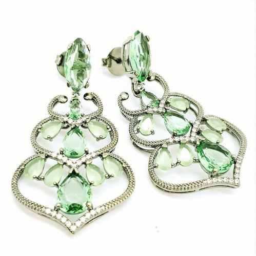 Conjunto Anel e Brincos Cristais Verde Praziolita Cravejado Zirconias Banhado 2982 2983