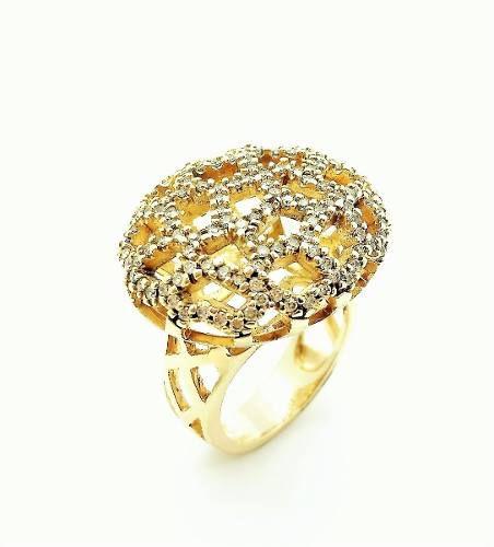 Anel e Brincos Queen Cravejados Com Zirconias Banhados A Ouro 18k 776 777
