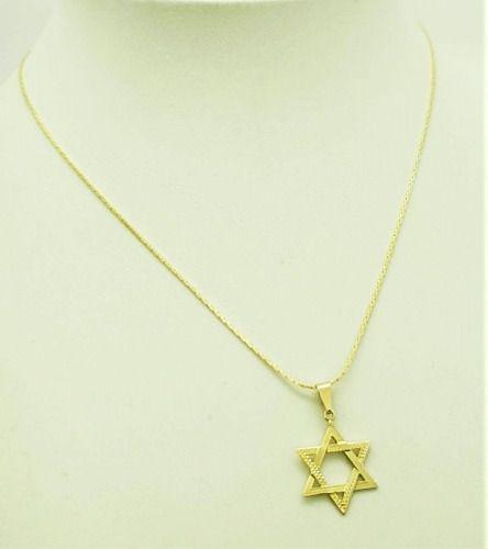 Cordão Com Pingente Estrela De David Banho Ouro 18k 2939