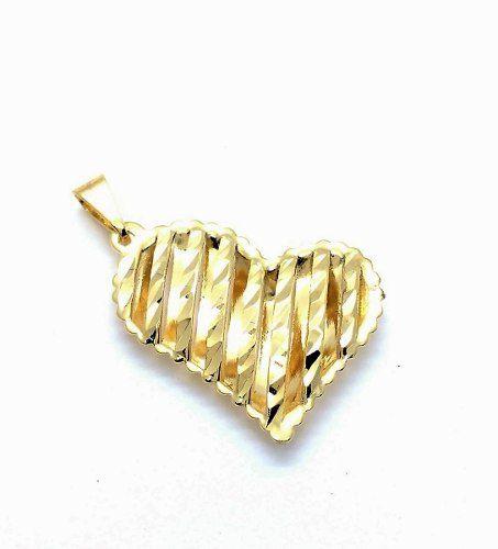 Cordão Com Pingente Coração Diamantado Banho Ouro 18k 3144