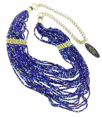 Colar de Contas Azuis 26 Fios Detalhe Bolinhas Douradas 2108