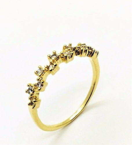 Meia Aliança Zirconias Cristal Banho Ouro 18k 1912