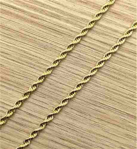 Colar Cordão Baiano Colar Torcido 4 mm 60cm Banho Ouro 18k 1834