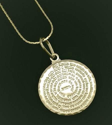 Cordão E Pingente Pai Nosso Oração Mandala Banho Ouro 2936