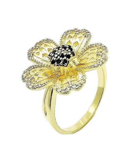 Anel Flor Cravejada Com Zirconias Banho Ouro 1855