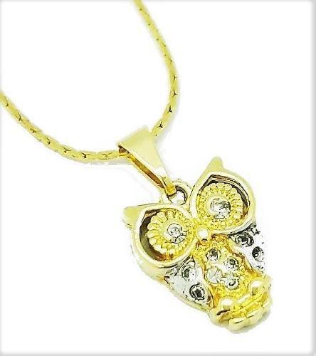 Cordão E Pingente Coruja Cravação Cristal Banhado Ouro 18k 2657