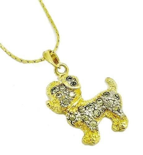 Cordão E Pingente Cachorrinho Cravação Cristal Banho Ouro 18k 2651