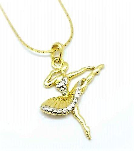 Cordão Com Pingente Bailarina Cravejado Banhado Ouro 18k 2647