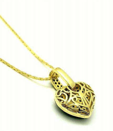 Colar Com Coração Cravejado Pavé De Zirconias Banho De Ouro 18k 2630