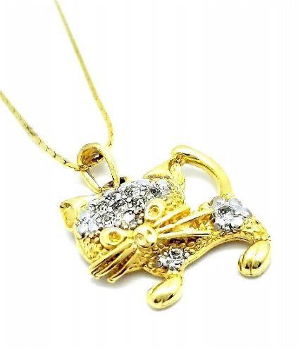 Cordão Pingente Gato Cravação Cristal Banhado Ouro 18k 2653