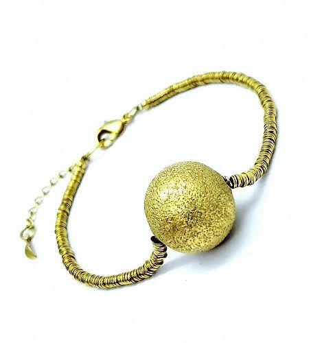 Pulseira Fio Cordão Com Bola Diamantada Banho Ouro 18k 1893