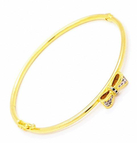 Bracelete Algema Laço Zirconias Banho Ouro 18k 4132