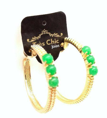 Brincos Argolas Com Pedra Natural Jade Verde Chaton Banho De Ouro 18k 795