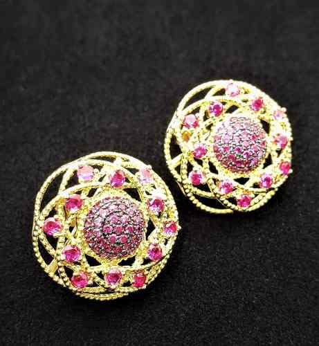 Brincos Flor Rubi Pink Zirconias Banho Ouro 18k 4003