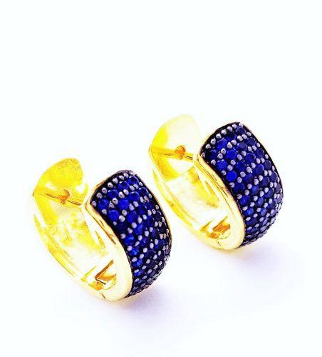 Brincos Argolas Cravejadas Pavé Zirconias Azul Safira Banho Ouro 18k 3620