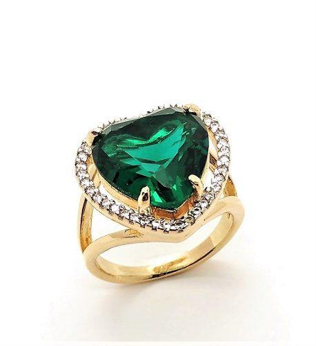 Anel Coração Esmeralda Cristal E Zirconias Banho Ouro 18k 4165