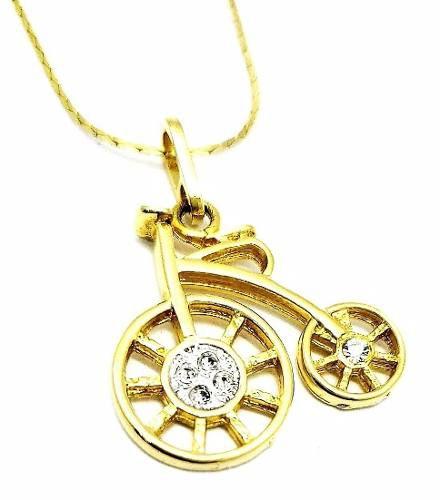 Cordão Com Pingente Bicicleta Cravejado De Zirconias Banho De Ouro 18k 598
