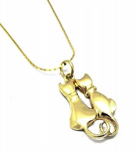 Cordão Com Pingente Casal De Gatos Banhados A Ouro 18k 604