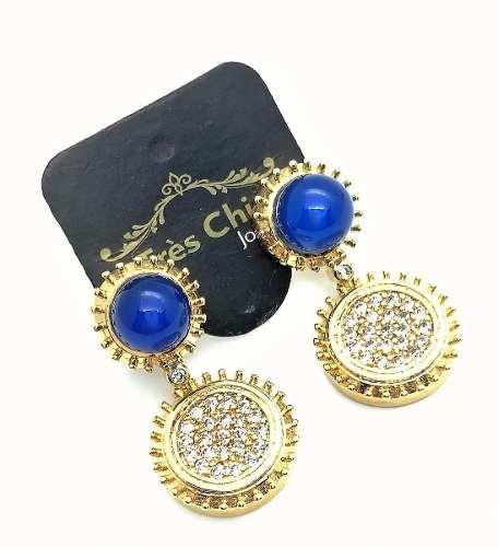 Brincos Cristais Azul Safira Cravejados De Zirconias Banho De Ouro 18k 788