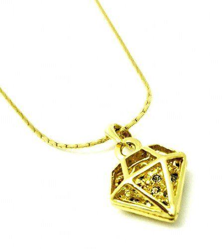 Cordão Com Pingente Formato Diamante Cravejado Zirconias Banho Ouro 18k 3175