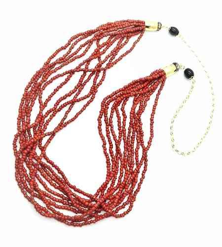Colar Contas Vermelho Coral 9 Fios 1m Banho Ouro 18k 4419