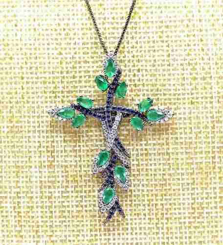 Colar Crucifixo Entrelace Cravejado De Zirconias Banho Em Ródio Negro 4398
