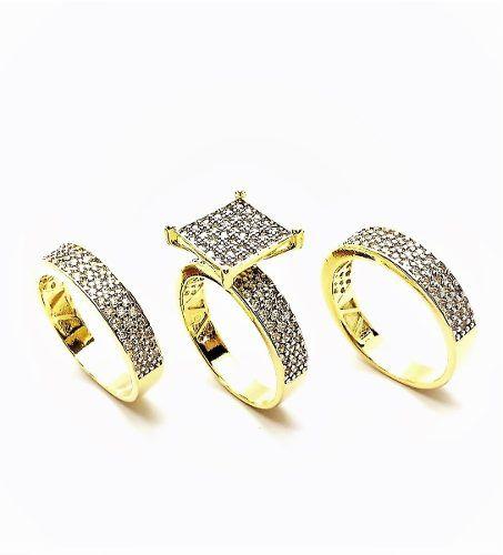 Anel Cravejado  Pavé Zirconias Cristal e 2 Aparadores Trio (Kit 3 Peças) Banho Ouro 4326