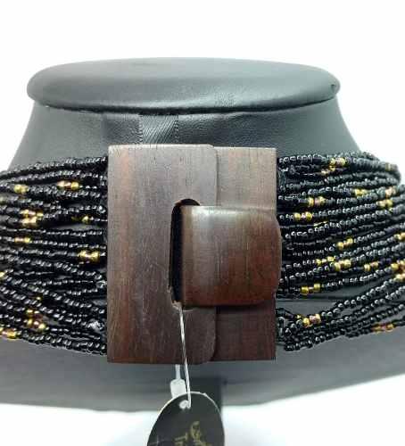 Maxi Colar Com Pedra Verde Peridoto Negro E Dourado 90cm Fecho Artesanal Madeira 4249