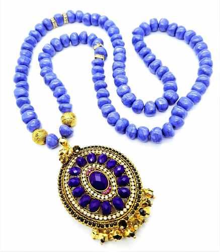 Colar Azul Howlita Com Pingente Tulipas Cristais Banho Ouro 18k 4247