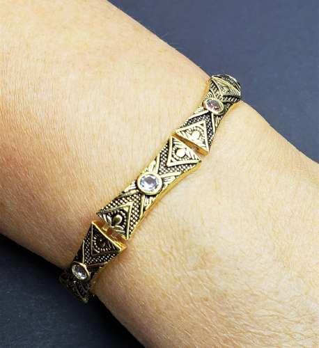 Pulseira Gomos Desenhados Zirconias Cristal Banho Ouro 18k 4232