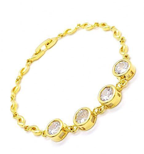 Pulseira Zirconias Cristal Banho Ouro 18k 4216