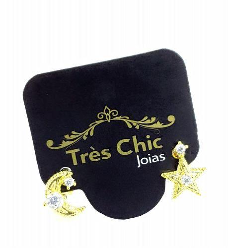 Brincos Solteiros Estrela E Meia-lua Zirconias Banho Ouro 18k 4198
