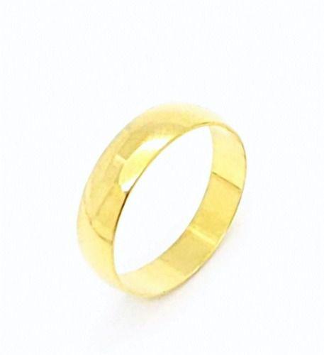 Aliança Meia Cana Lisa 5mm Banho Ouro 18k 4177